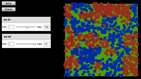 Configuration buttons and sliders on the left, and on the right hundreds of red and blue squares clumping together by color into several groups on a green background