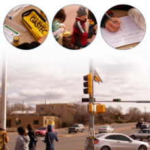 Photos of students collecting traffic data from Project GUTS webpage collage
