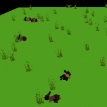 Screen shot from Project GUTS rabbits and grass model