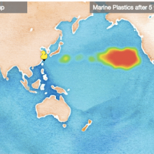 Map showing where plastics end up