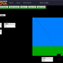 Screen shot from model showing projectile motion